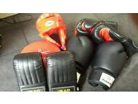 Selection of boxing gloves and mitts