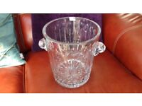 Large Hand Cut Crystal Glass Champagne Bucket / Wine Cooler (Vase)