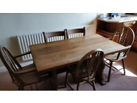 Solid Oak Farmhouse Kitchen Table 140cm and 5 Solid Oak Chairs and One Bar Stool