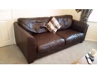 Chocolate brown 3 seater leather sofa