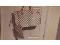 Louis Vuitton Damier Azur canvas MM Never Full Handbag with matching purse new