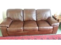Brown leather 3 seater sofa excellent condition
