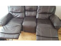 Leather Sofa 3 Seater Reclining Brown