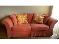 LARGE MOROCCAN STYLE TERRACOTTA SOFA -THREE SEATER