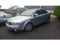 2003 AUDI A4 TDI Sport 130bp long mot may 17. alloys, tints boot spoiler