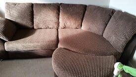 Brown corner sofa with half moon pouffe + cuddle sofa