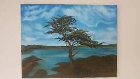 Original oil painting tree and lake