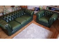 Chesterfield green leather club armchair & 3 seater sofa