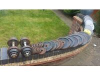 Body power weight plates totally around 140 kg ...