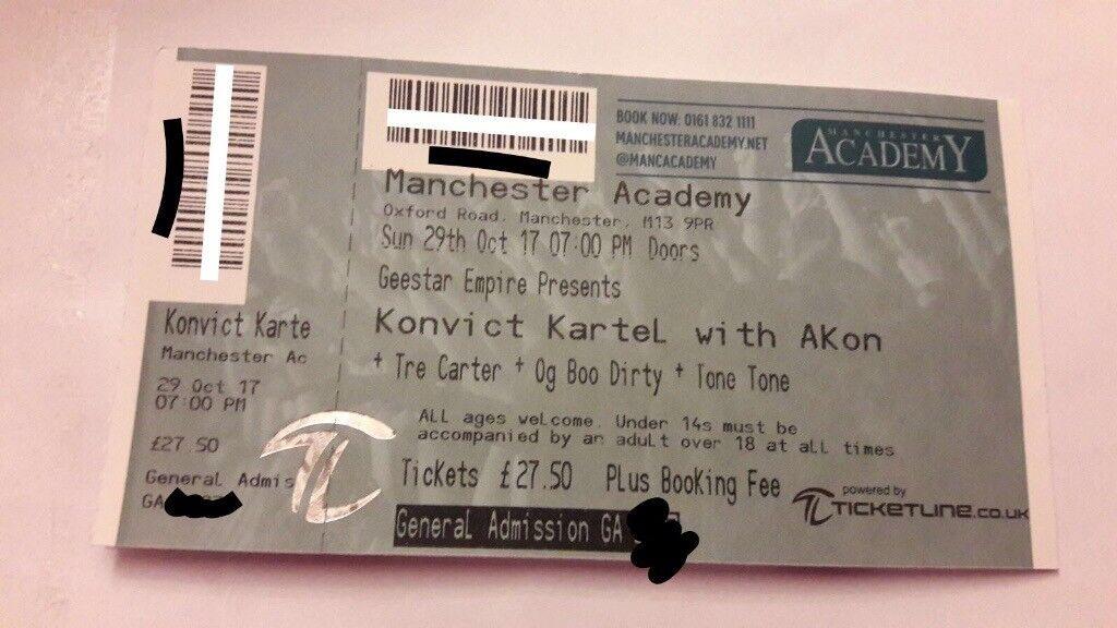 2x Akon Concert Tickets - Manchester Academy