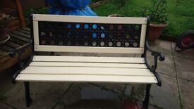 Beautiful solid bench, new timber and cast iron.
