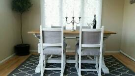Vintage shabby chic dining table and chairs