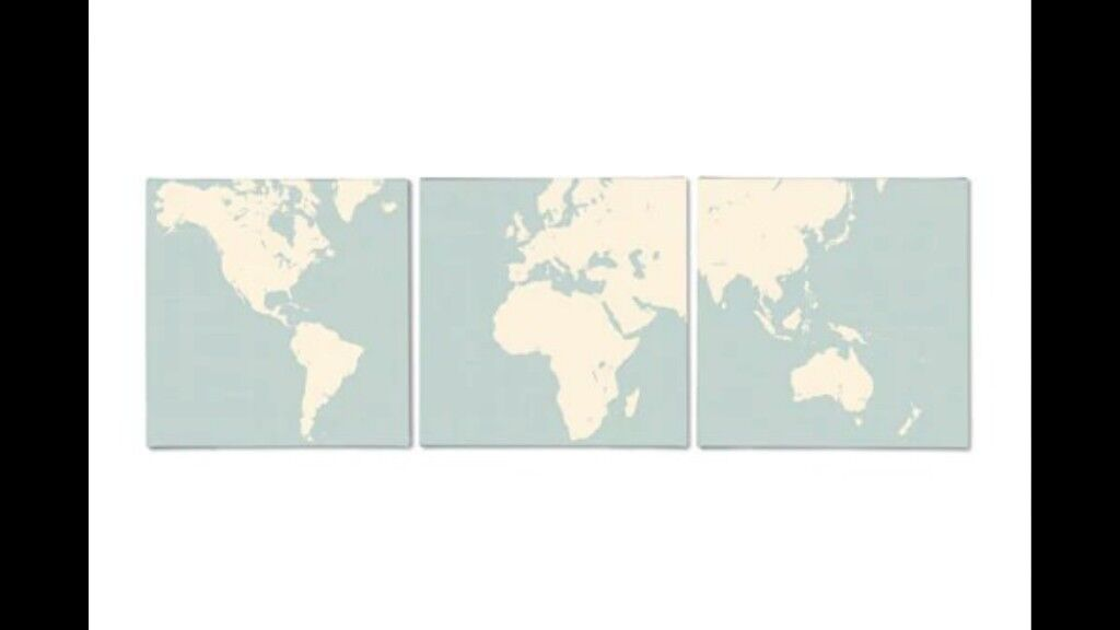 Set of 3 canvas world map pictures Ikea PJÄTTERYD 25 x 25cm | in ...