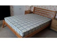 Solid pine double bed with matress. Good condition, hardly used.