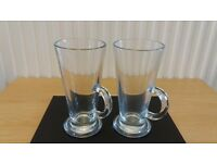 2 X Coffee / Cappucino / Hot Chocolate Glass Mugs with handles. NEW. Unused.