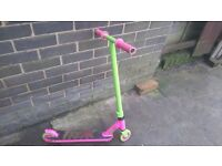 BRIGHT GREEN AND PINK FREAK STUNT SCOOTER