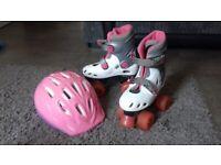 Roller boots and helmet