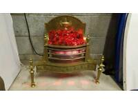 Fire place replacement or stand alone heater. Classy heavy brass/ cast iron
