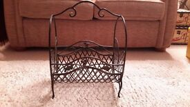 Contemporary wrought iron effect magazine rack