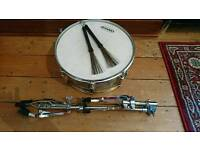 Snare drum, stand and brushes
