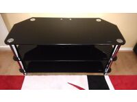 TV Stand - Black Glass and chrome / shelves / coffee table
