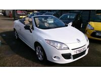 FREE MOTS AS LONG AS YOU OWN THIS CAR, CONVERTIBLE 2010 (60) RENAULT MEGANE 1.9 DCI WHITE NEW MOT CD