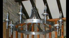 Medieval-style Iron ceiling light by Smithbrook Iron Lighting