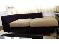 FREE 2 seater beige & black fabric sofa comfortable and in good condition