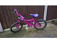 Girls bike childs cycle pink runflats tyres, light, stand, bell plus more 4 to 8 yrs works perfect