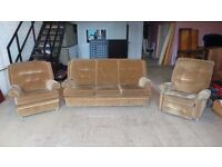 1970's Parker-Knoll 3 Piece Suite with Recliner Chair - FREE TO COLLECT - PORTHCAWL
