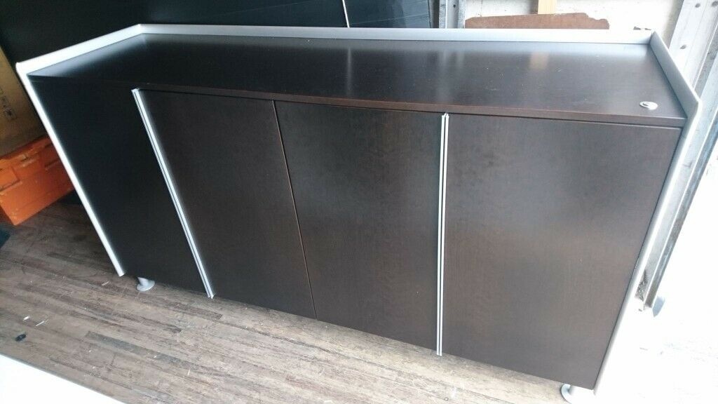 Credenza Dark Brown : Bene al designers dark brown aluminium office storage cupboard