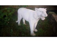 Life size lion / tiger garden art sculpture solid piece very unusual handmade