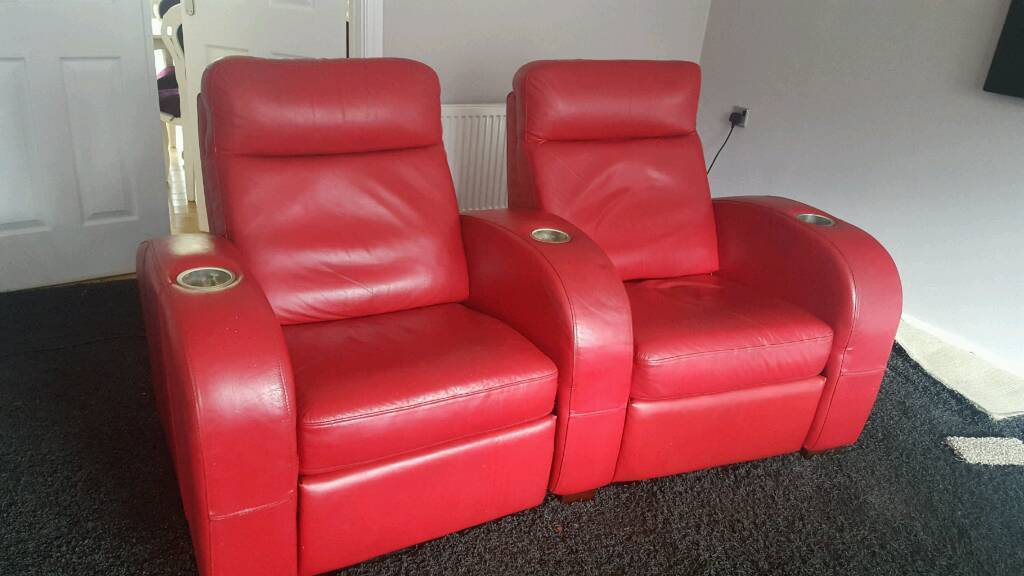 Electric recliner cinema chairs red