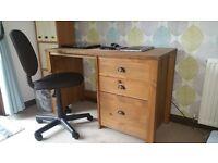 Oak desk & chair for sale