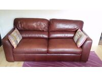 Real Leather 2-Seater Sofa Bed