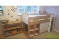 Mid-sleeper with desk/bookshelf and chest of drawers