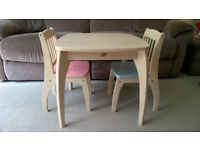 Wooden Table and x2 Chairs