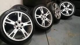 "Italian 17"" split rim style alloy wheels + branded tyres! 5x100 vw audi seat skoda toyota vag"