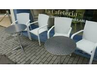 Aluminium silver and white patio bistro cafe set tables chairs garden outdoor