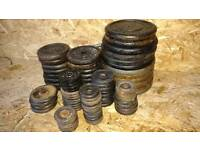 264kg cast iron weights & bars