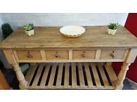 large reclaimed solid pine kitchen sideboard 4 drawers