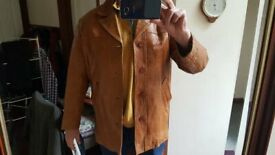 Extra large Vintage Soft Italian Leather Angelo Litrico tan gents mens jacket