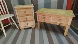 Rustic hand made pine cabinet and sideboard farmhouse cottage