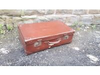 Vintage Retro Brown Suitcase Suit Case Luggage Trunk Briefcase Storage Display
