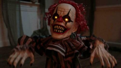 Halloween Animated Lunging JUMPING EVIL CLOWN Prop Haunted House Decoration Yard