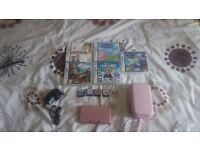 Pink nintendo 3ds plus games
