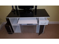 White home office desk with black glass