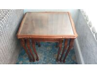 Nest of 3 teak glass topped tables