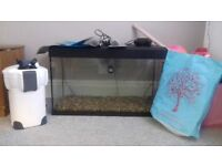 140 ltr aquarium with 1400l/h external filter,fluval m100+150 submersible heaters, mdom air pump