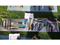 **HAND TOOLS**£4 EACH**CLAMPS, CHISELS, SPANNERS, LEVELS ETC**MORE AVAILABLE**
